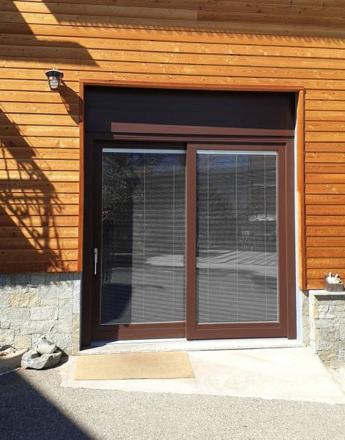 alzante scorrevole legno / alluminio con veneziane interno vetro - Berbenno di Valtellina